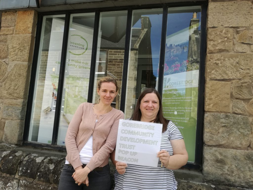 Michaela of @greengorebridge and Linda outside the pop-up Beacon